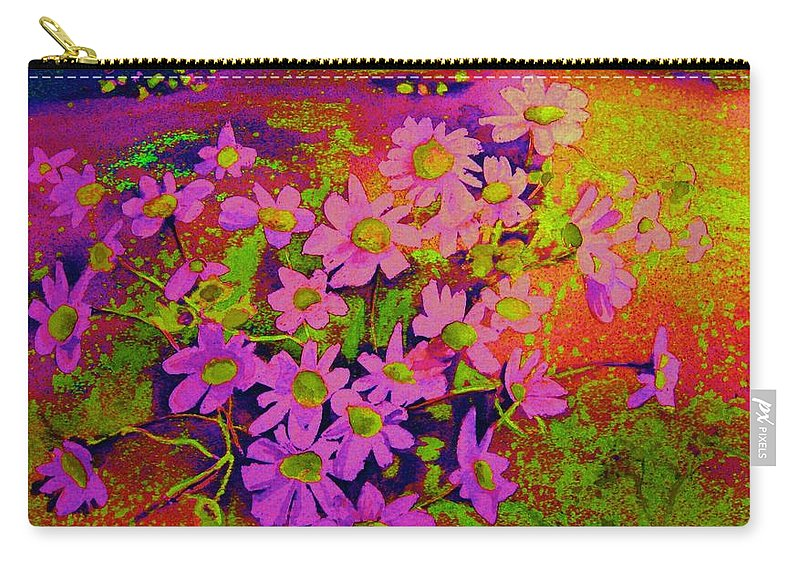 Violets Carry-all Pouch featuring the painting Violets Among The Heather by Carole Spandau