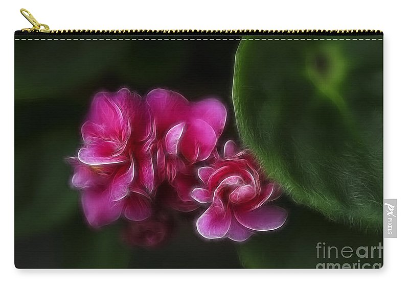 Flowers Carry-all Pouch featuring the photograph Violets Of Pink by Deborah Benoit