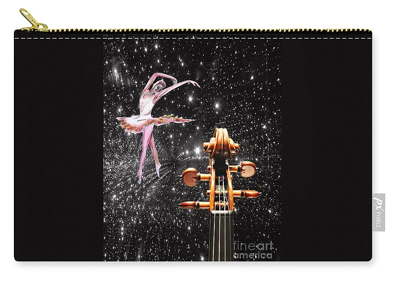 Violin Carry-all Pouch featuring the painting Violin And Ballet Dancer Number 1 by Tom Conway