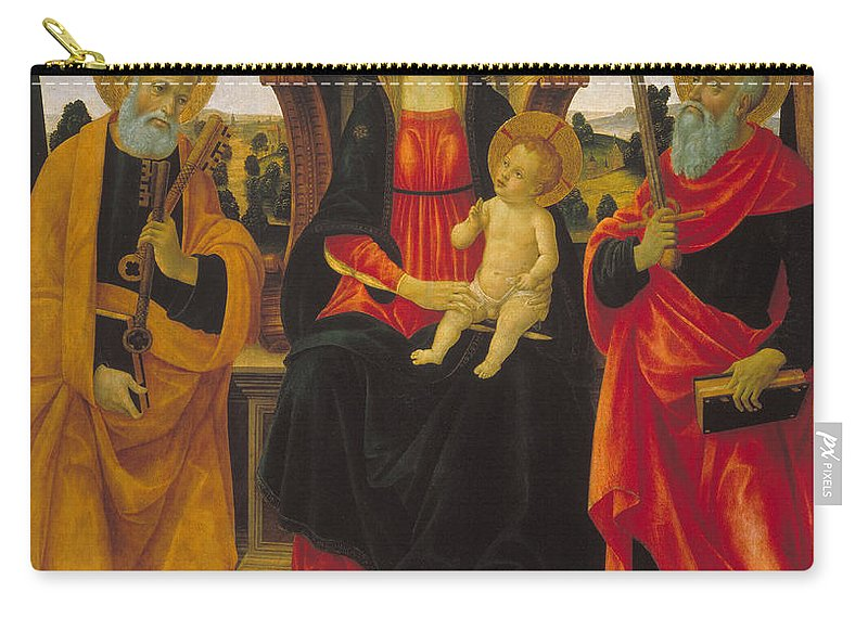 Vincenzo Frediani Carry-all Pouch featuring the painting Virgin And Child Between Saint Peter And Saint Paul by Vincenzo Frediani