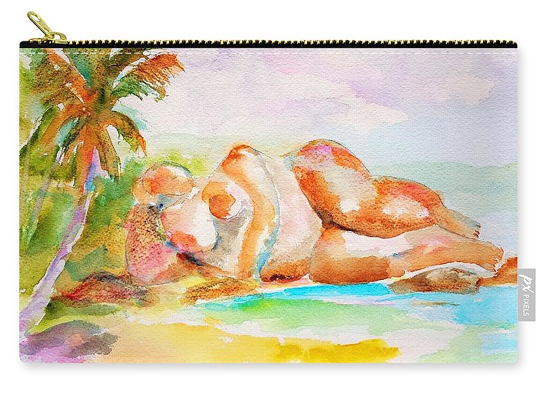 Tropical Beach Carry-all Pouch featuring the painting Virgin Cove by Carlin Blahnik CarlinArtWatercolor