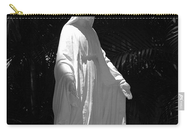 Black And White Carry-all Pouch featuring the photograph Virgin Mary In Black And White by Rob Hans