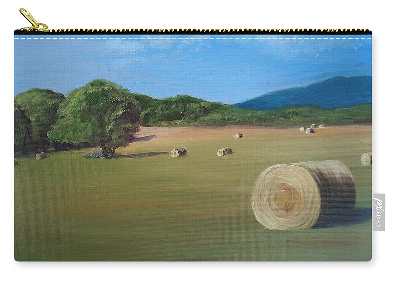 Hay Carry-all Pouch featuring the painting Virginia Hay Bales by Donna Tuten