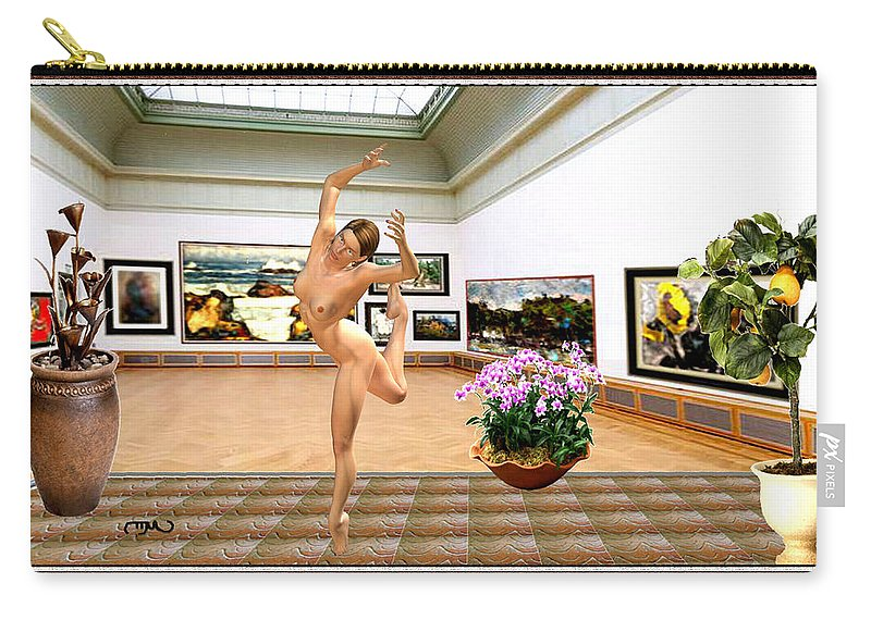 Modern Painting Carry-all Pouch featuring the mixed media Virtual Exhibition - Dacanvasncing Girl by Pemaro