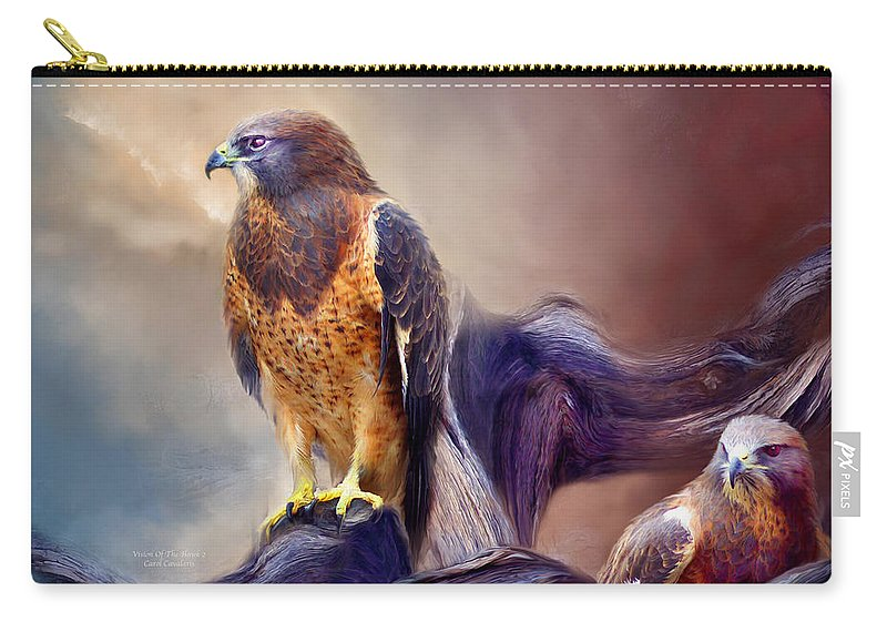 Hawk Carry-all Pouch featuring the mixed media Vision Of The Hawk 2 by Carol Cavalaris