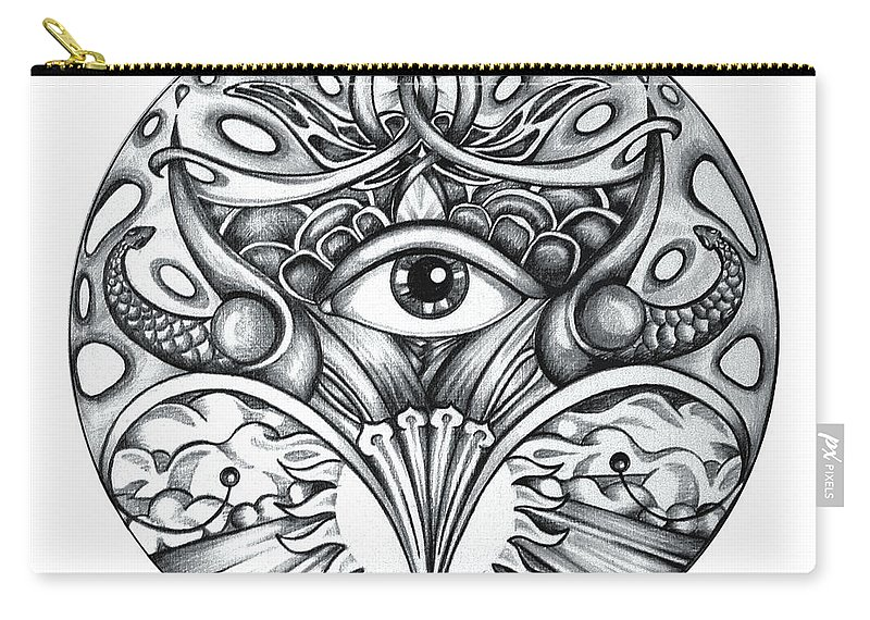 Eye Carry-all Pouch featuring the drawing Vision by Shadia Derbyshire