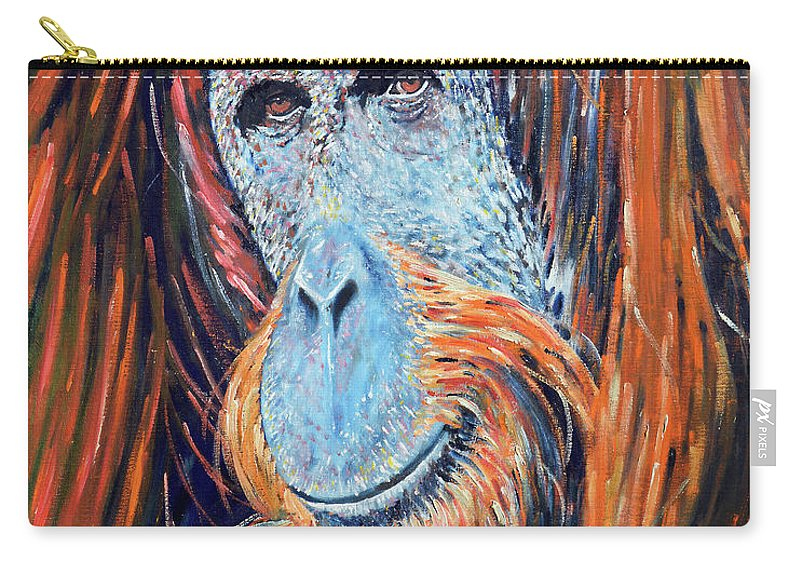 Orangutan Carry-all Pouch featuring the painting Visit To The Zoo by Richard Votch