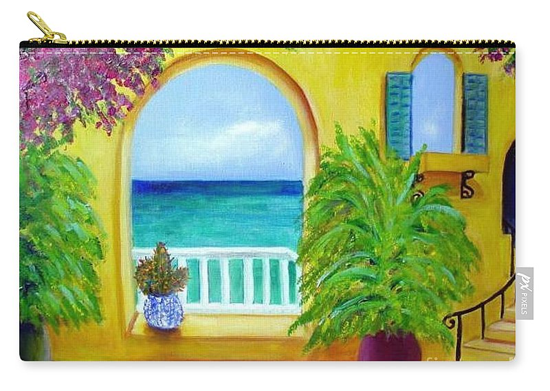 Patio Carry-all Pouch featuring the painting Vista Del Agua by Laurie Morgan