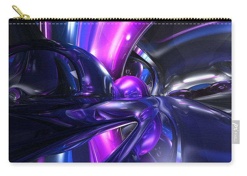 3d Carry-all Pouch featuring the digital art Vivid Waves Abstract by Alexander Butler