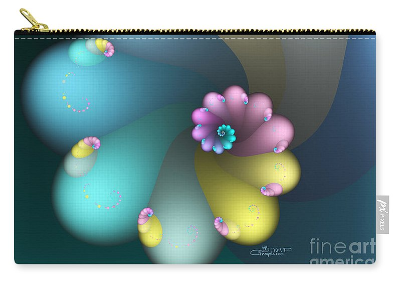 Fractal Carry-all Pouch featuring the digital art Vivid Whisper by Jutta Maria Pusl