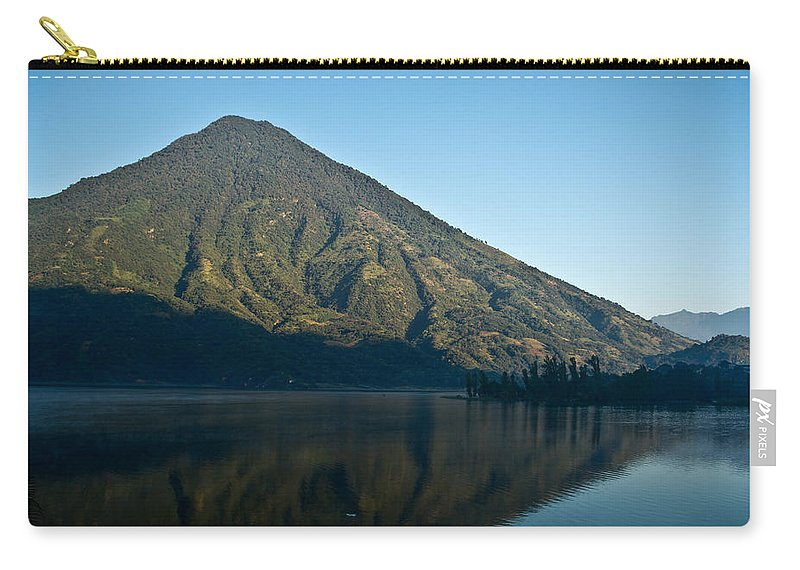 Volcano Carry-all Pouch featuring the photograph Volcano Reflected In Atitlan Lake 5 by Douglas Barnett