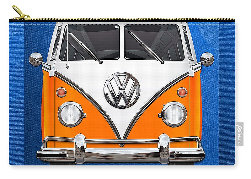 'volkswagen Type 2' Collection By Serge Averbukh Carry-all Pouch featuring the photograph Volkswagen Type - Orange and White Volkswagen T 1 Samba Bus over Blue Canvas by Serge Averbukh