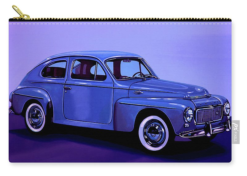 Volvo Pv544 Carry-all Pouch featuring the mixed media Volvo Pv 544 1958 Mixed Media by Paul Meijering