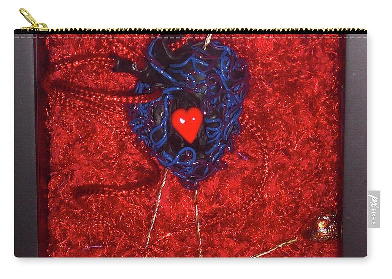 Voodoo Heart Sculpture Carry-all Pouch featuring the sculpture Voodoo Heart by Judy Henninger