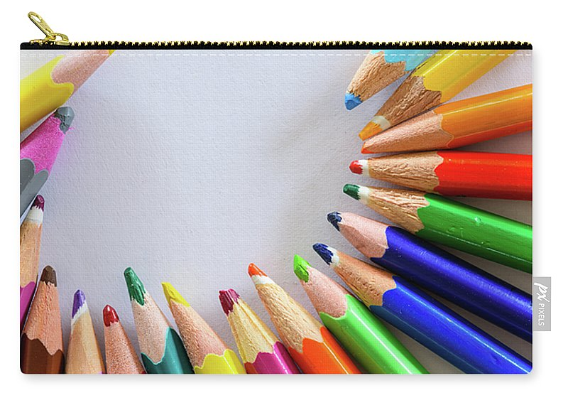 Background Carry-all Pouch featuring the photograph Vortex Of Colored Pencils by Nicola Simeoni