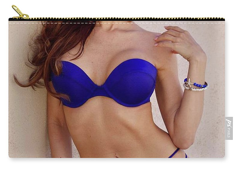 Bikini Model Carry-all Pouch featuring the photograph Voula Blue Bikini by Ace Micheals