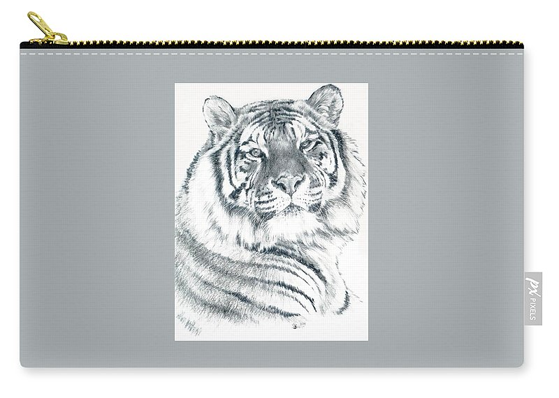 Tiger Carry-all Pouch featuring the drawing Voyager by Barbara Keith