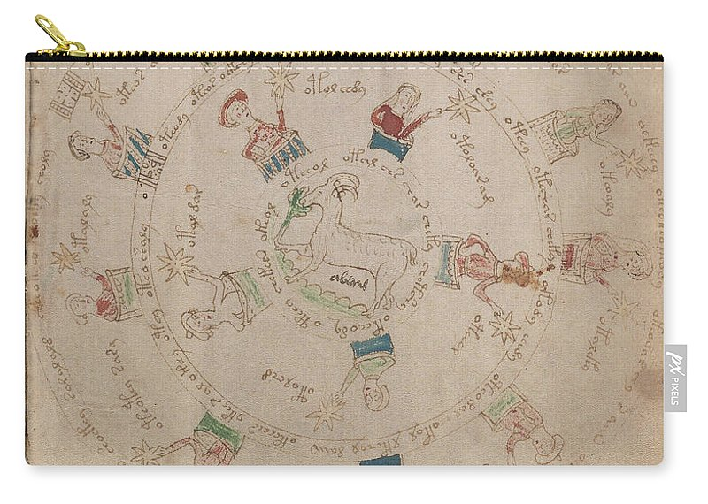 Astronomy Carry-all Pouch featuring the drawing Voynich Manuscript Astro Aries by Rick Bures