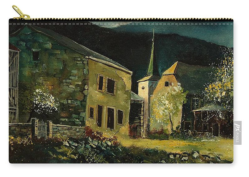 Tree Carry-all Pouch featuring the painting Vresse 67 by Pol Ledent