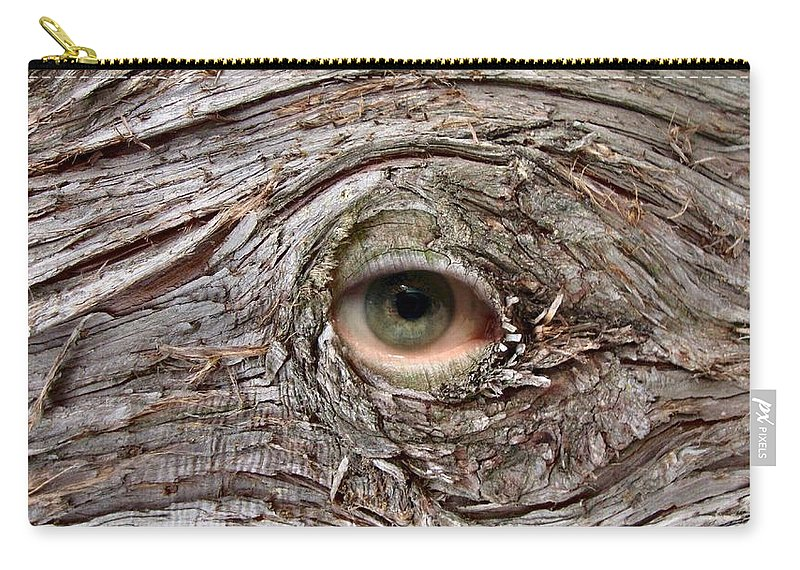 Eye Tree Vision Bark Nature Sight Photo Carry-all Pouch featuring the photograph Vue by Bruce Lennon