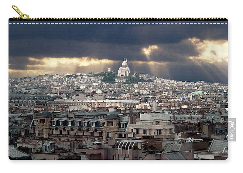 France Carry-all Pouch featuring the photograph Vue De La Butte Montmartre.roofs Of Paris by Bernard Jaubert
