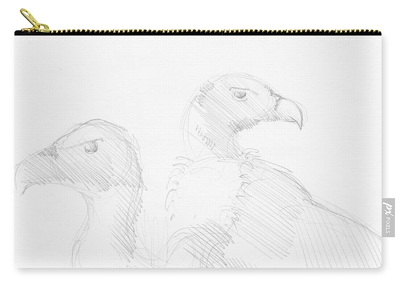 Vulture Carry-all Pouch featuring the drawing Vultures Drawing by Mike Jory