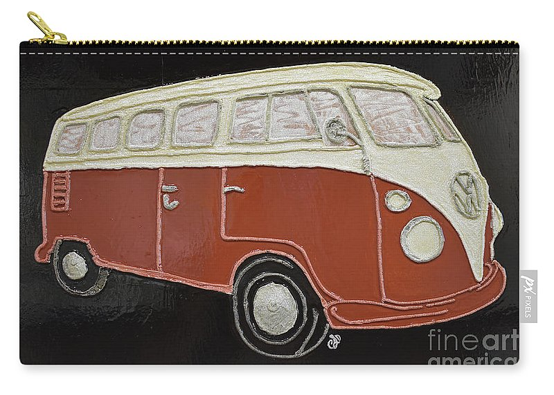 Vw Bus Carry-all Pouch featuring the painting Vw Bus by Christine Dekkers