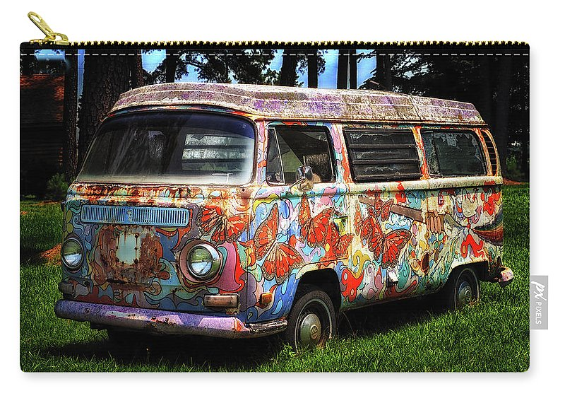 Volkswagen Carry-all Pouch featuring the photograph Vw Psychedelic Microbus by Bill Swartwout Fine Art Photography