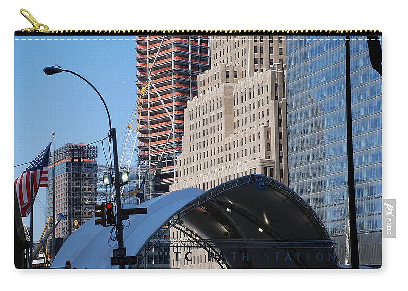 Street Scene Carry-all Pouch featuring the photograph W T C Path Station by Rob Hans