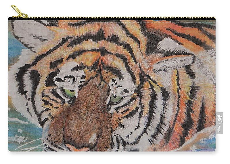 Tiger Carry-all Pouch featuring the pastel Wading Tiger by Kylie Jo Greshik
