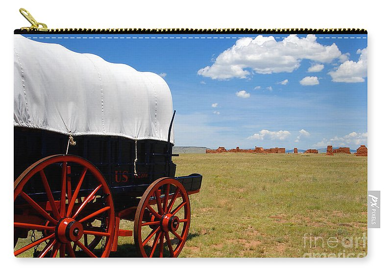 Fort Union New Mexico Carry-all Pouch featuring the photograph Wagon At Old Fort Union by David Lee Thompson