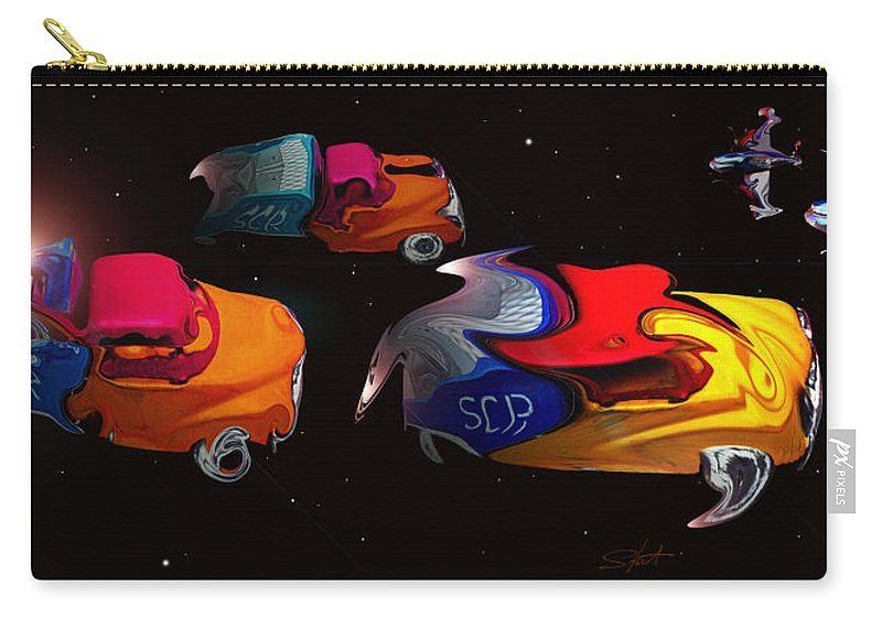 Pick Up Truck Carry-all Pouch featuring the painting Wagon Train To The Stars 2 by Charles Stuart