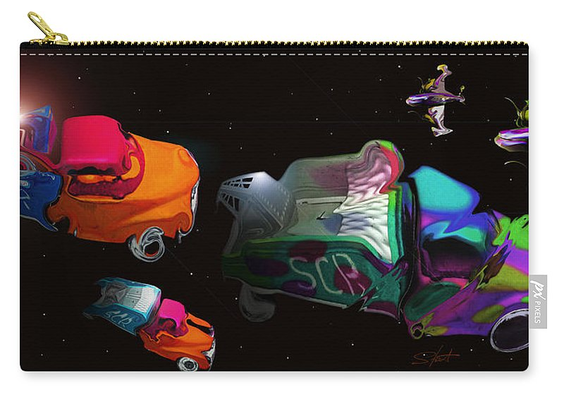 Trucks Carry-all Pouch featuring the painting Wagon Train To The Stars 3 by Charles Stuart