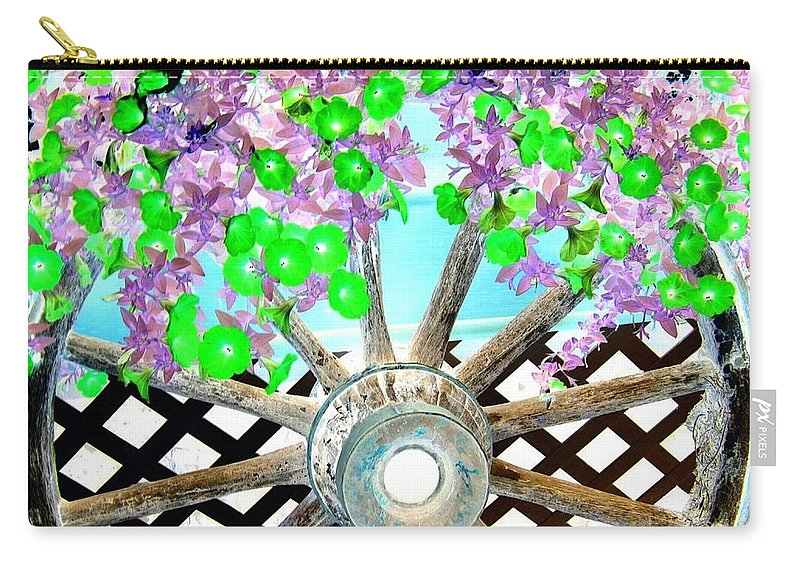 Wagon Wheel Carry-all Pouch featuring the digital art Wagon Wheel by Will Borden