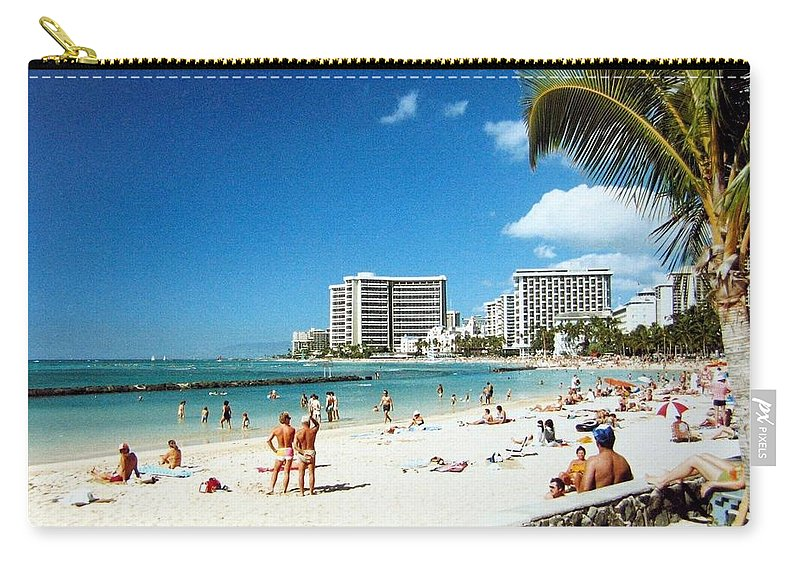 1986 Carry-all Pouch featuring the photograph Waikiki Beach by Will Borden