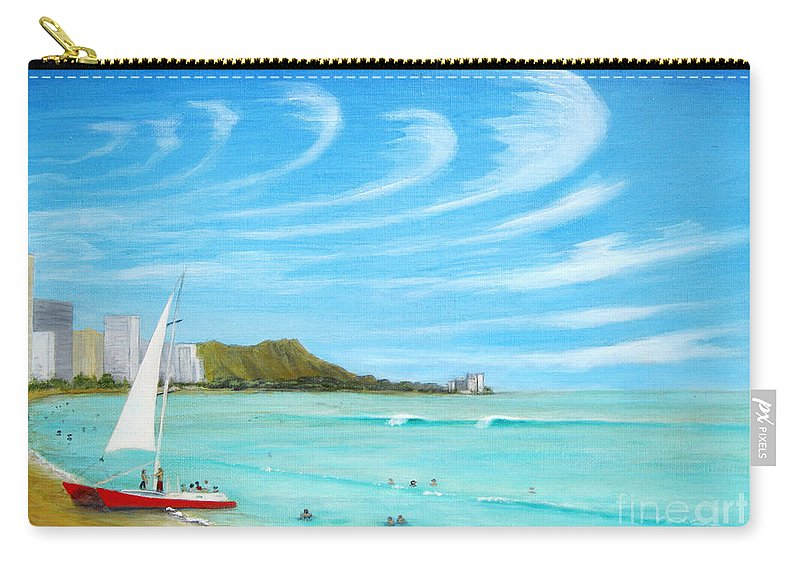 Waikiki Carry-all Pouch featuring the painting Waikiki by Jerome Stumphauzer