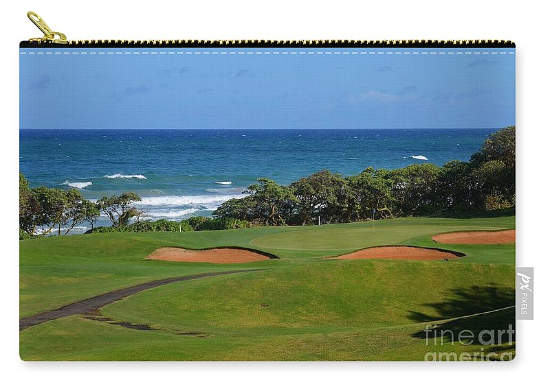 Golf Carry-all Pouch featuring the photograph Wailua Golf Course - Hole 17 - 1 by Mary Deal