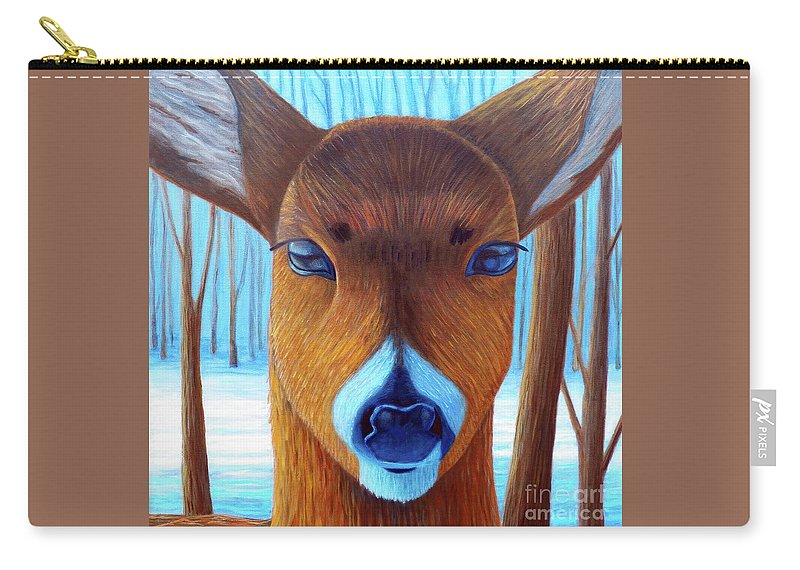 Deer Carry-all Pouch featuring the painting Wait For The Magic by Brian Commerford