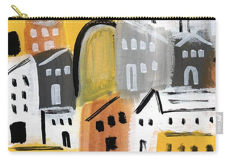 Houses Carry-all Pouch featuring the painting Waiting For Autumn- Expressionist Art by Linda Woods