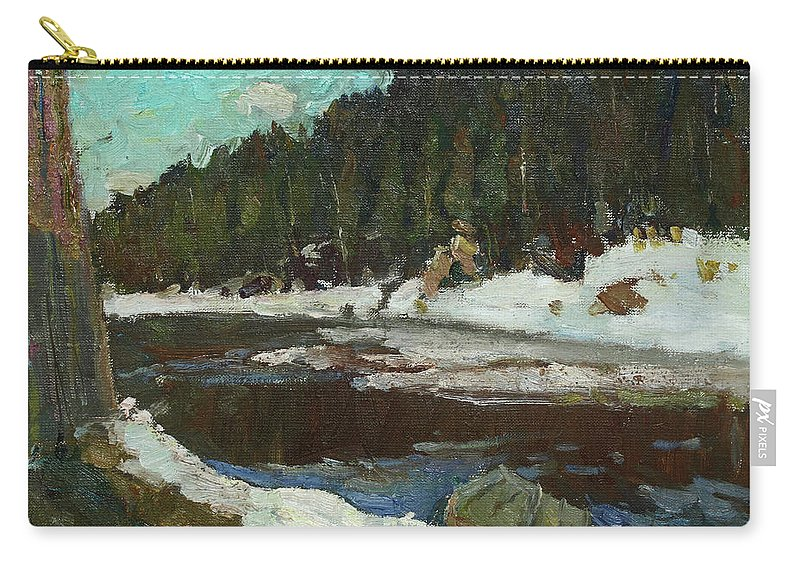Plein Air Carry-all Pouch featuring the painting Waiting For Spring by Juliya Zhukova