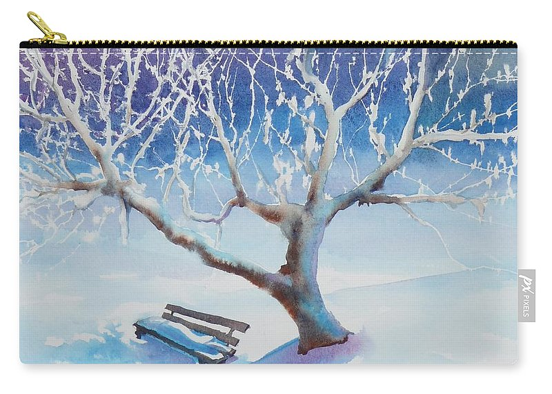 Snow Carry-all Pouch featuring the painting Waiting For Spring by Ruth Kamenev
