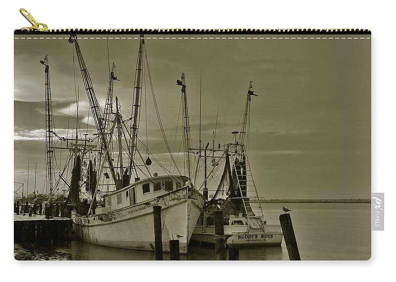 Shrimp Boats Carry-all Pouch featuring the photograph Waiting For The Big Catch by Susanne Van Hulst