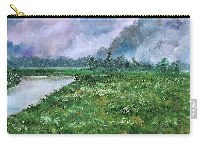 Landscape Carry-all Pouch featuring the painting Waiting For The Forecast by Lisa Aerts