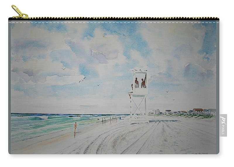 Ocean Carry-all Pouch featuring the painting Waiting For The Lifeguard by Tom Harris