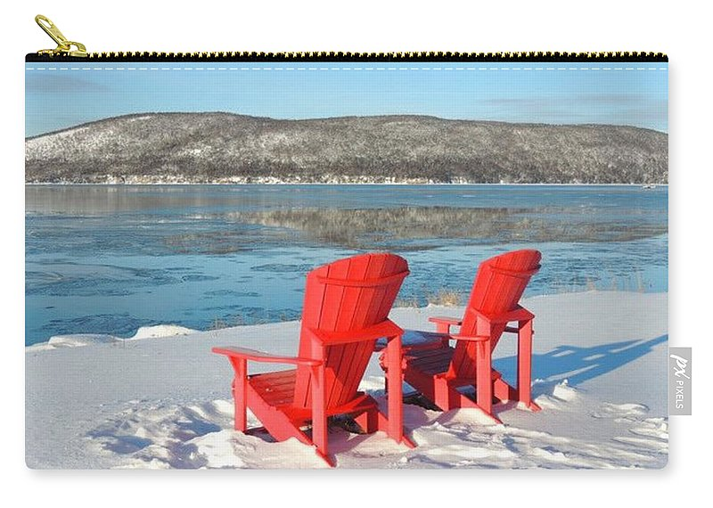 Red Carry-all Pouch featuring the photograph Waiting For The Summer by Suzan Roberts-Skeats