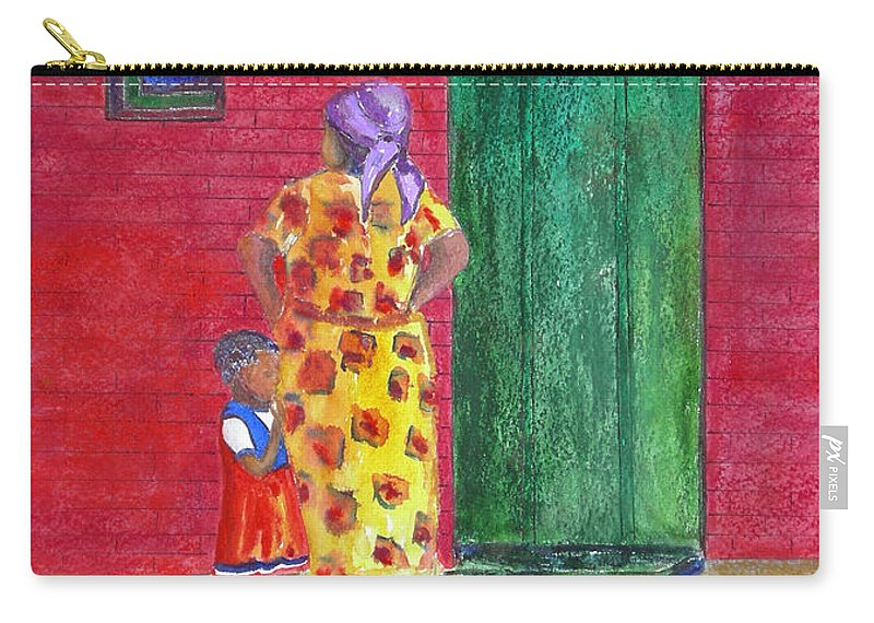 Zimbabwe Carry-all Pouch featuring the painting Waiting In Zimbabwe by Patricia Beebe