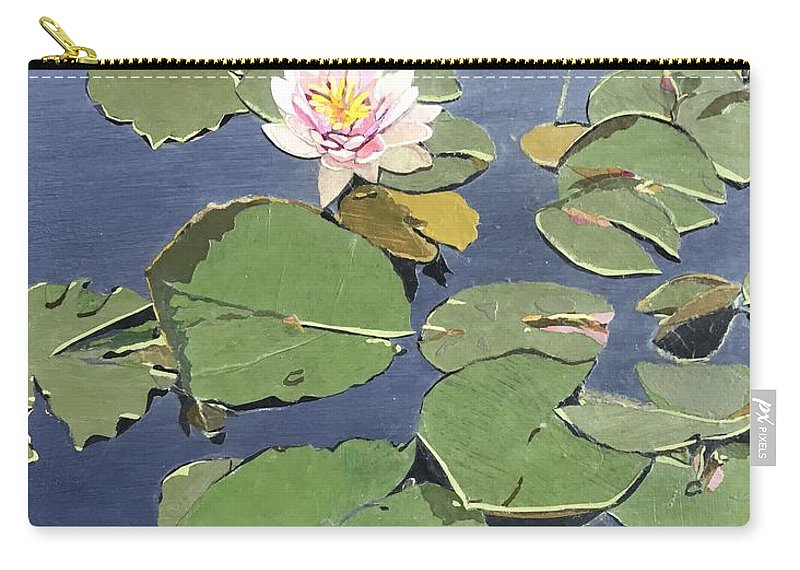 Recycled Carry-all Pouch featuring the painting Waiting Lotus by Leah Tomaino
