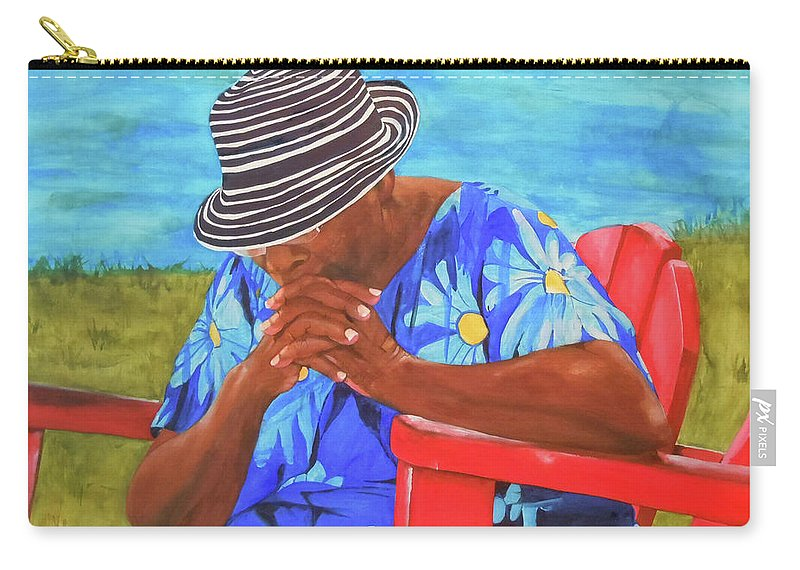 Caribbean Carry-all Pouch featuring the painting Waiting Patiently by Jean Blackmer