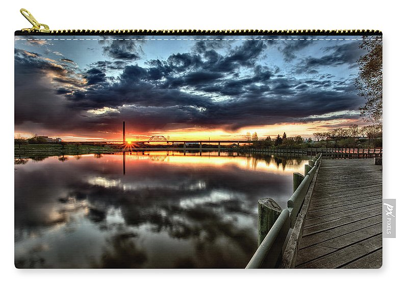 Reflection Carry-all Pouch featuring the digital art Wakamaw Valley Sunrise by Mark Duffy