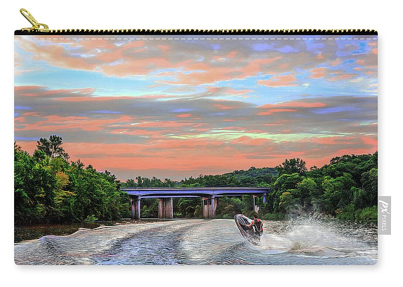 Action Carry-all Pouch featuring the photograph Wake Jumper by Robert FERD Frank